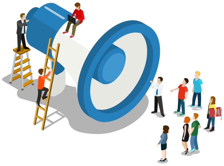 Giant megaphone with people standing around listening to someone speak, abstract image for communication.
